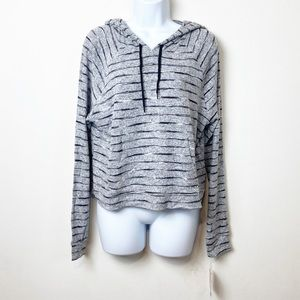 Mossimo Supply Co. Black Striped Hoodie Sweater